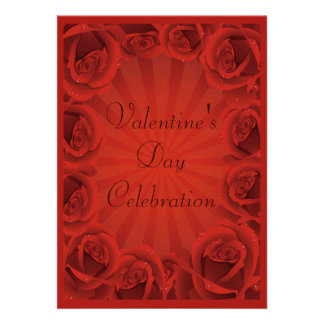 Romantic Red Roses Valentine s Day Party Invitation