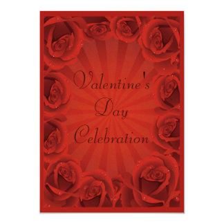 Romantic Red Roses Valentine's Day Party 13 Cm X 18 Cm Invitation Card