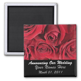 Romantic Red Roses Wedding Announcement Magnet