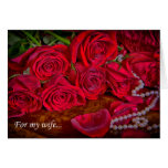 Romantic Red Roses With Pearls Card