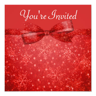"Romantic Red & Shimmer Snowflakes Wedding 5.25"" Square Invitation Card"