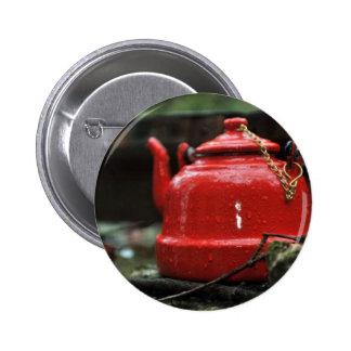 Romantic Red Tea Kettle Button
