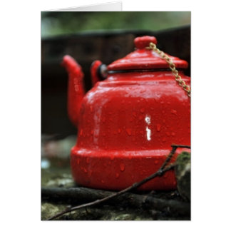 Romantic Red Tea Kettle Greeting Card