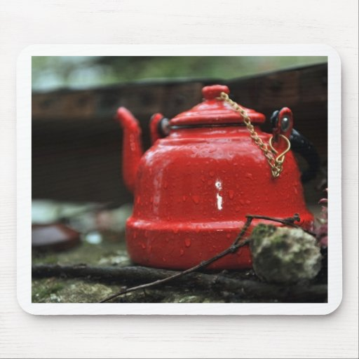 Romantic Red Tea Kettle Mousepads