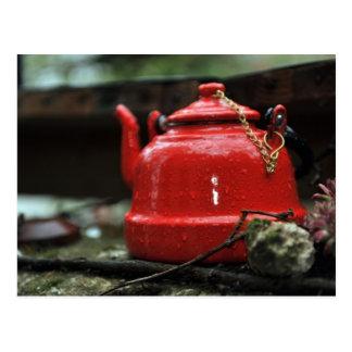 Romantic Red Tea Kettle Postcard