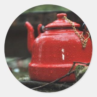 Romantic Red Tea Kettle Round Sticker