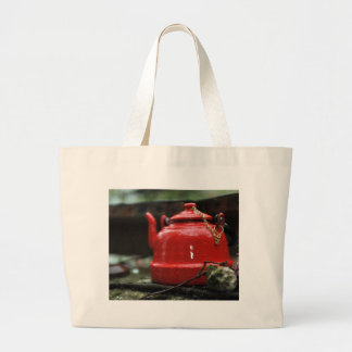 Romantic Red Tea Kettle Jumbo Tote Bag