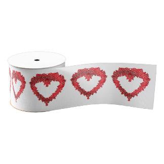 Romantic red Valentines love heart Grosgrain Ribbon