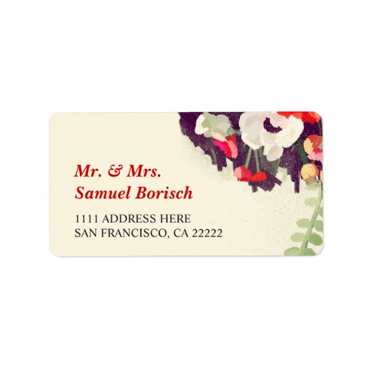 Romantic Red White Floral Art Return Address Address