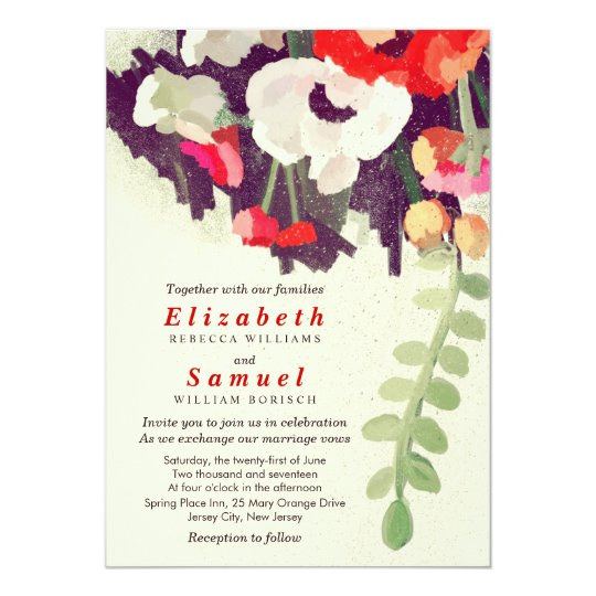 Romantic Red White Floral Art Wedding Invitation