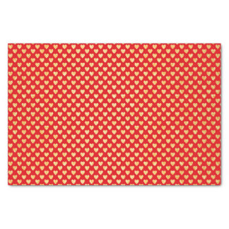 """Romantic Red with Tiny Gold Hearts Decorative 10"""" X 15"""" Tissue Paper"""