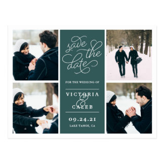 Romantic Request | Photo Collage Save the Date Postcard