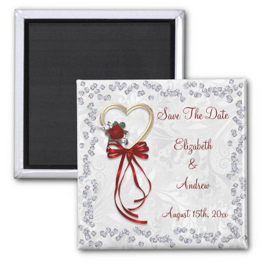 Romantic Rose, Diamonds & Red Ribbon Save The
