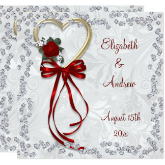Romantic Rose, Diamonds & Red Ribbon Wedding Card