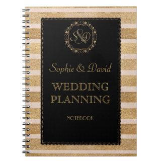 Romantic Rose Gold Fall Wreath Wedding Planner Spiral Notebook