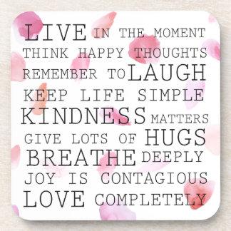 Romantic Rose Petals inspirational words Coaster