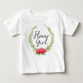 Romantic Rose Watercolor Wreath | Flower Girl Baby T-Shirt