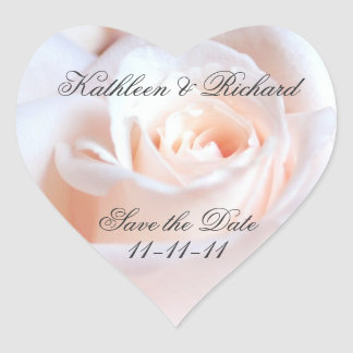 Romantic Rose Wedding Heart-shaped Labels Heart Sticker
