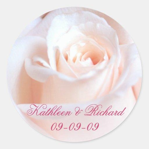 Romantic Rose Wedding Labels Sticker