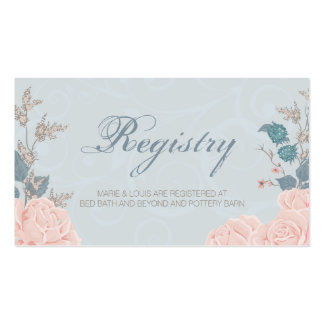 Romantic Rose Wedding Registry Card Pack Of Standard Business Cards