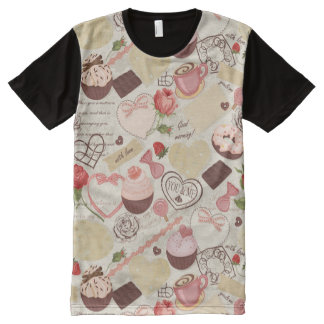 Romantic Roses and Dessert All-Over Print T-Shirt
