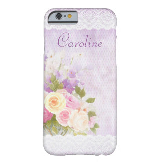 Romantic Roses and Lace Girly Purple Barely There iPhone 6 Case
