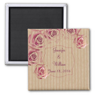 Romantic roses, custom text on striped background square magnet