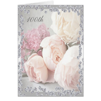 Romantic Roses & Diamonds 100th Birthday Greeting Card
