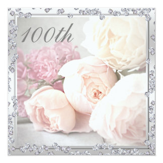 Romantic Roses & Diamonds 100th Birthday Party 13 Cm X 13 Cm Square Invitation Card