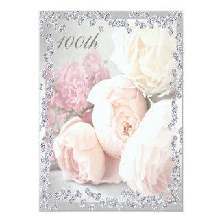 Romantic Roses & Diamonds 100th Birthday Party 13 Cm X 18 Cm Invitation Card