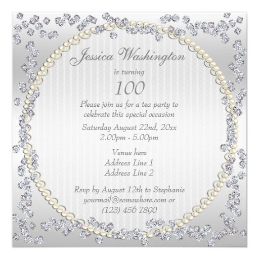 Romantic Roses & Diamonds 100th Birthday Party Invite