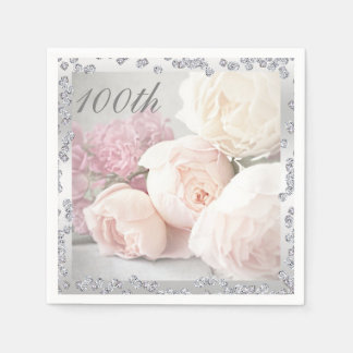 Romantic Roses & Diamonds 100th Birthday Serviette Paper Napkins