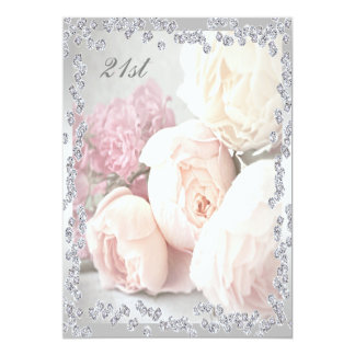 Romantic Roses & Diamonds 21st Birthday Party 13 Cm X 18 Cm Invitation Card