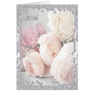 Romantic Roses & Diamonds 30th Birthday Greeting Card