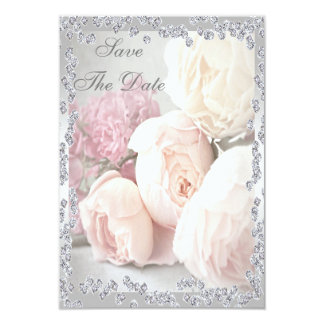 Romantic Roses & Diamonds 60th Save The Date 9 Cm X 13 Cm Invitation Card