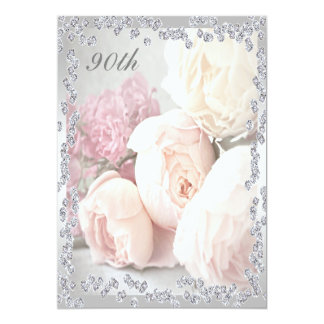 Romantic Roses & Diamonds 90th Birthday Party 13 Cm X 18 Cm Invitation Card