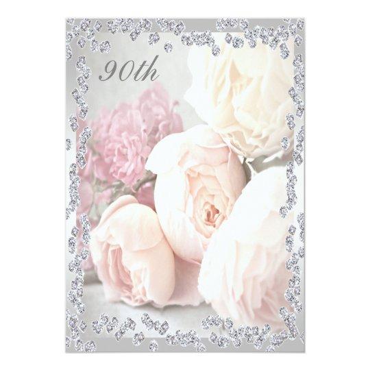 Romantic Roses & Diamonds 90th Birthday Party Card