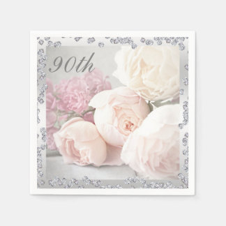 Romantic Roses & Diamonds 90th Birthday Serviettes Disposable Serviettes