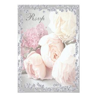 Romantic Roses & Diamonds Rsvp 9 Cm X 13 Cm Invitation Card