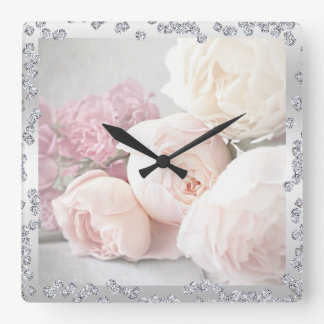 Romantic Roses & Diamonds Square Wall Clock