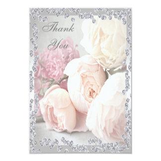 Romantic Roses & Diamonds Thank You 9 Cm X 13 Cm Invitation Card