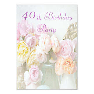 """Romantic Roses in Jars 40th Birthday Party 5"""" X 7"""" Invitation Card"""