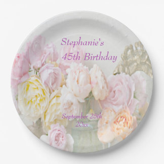 Romantic Roses in Jars 45th Birthday 9 Inch Paper Plate