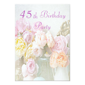 Romantic Roses in Jars 45th Birthday Party Announcement