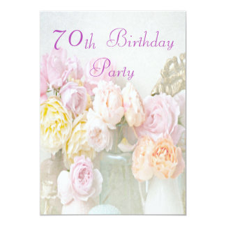 Romantic Roses in Jars 70th Birthday Party 13 Cm X 18 Cm Invitation Card