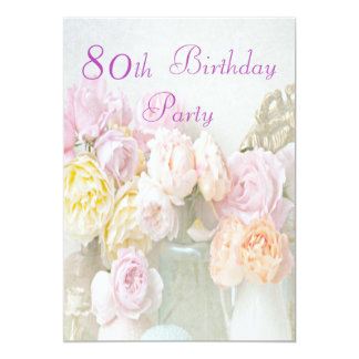 """Romantic Roses in Jars 80th Birthday Party 5"""" X 7"""" Invitation Card"""