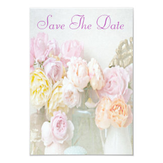 """Romantic Roses in Jars 80th Save The Date 3.5"""" X 5"""" Invitation Card"""