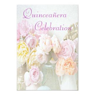 """Romantic Roses in Jars Quinceañera 5"""" X 7"""" Invitation Card"""