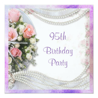 Romantic Roses & Pearls 95th Birthday Party Card