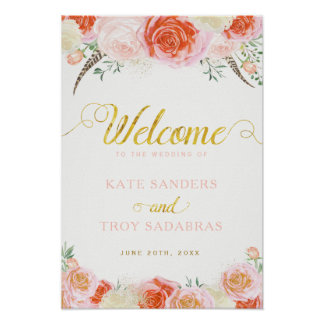 Romantic Roses Wedding Welcome Sign (13x19) Poster